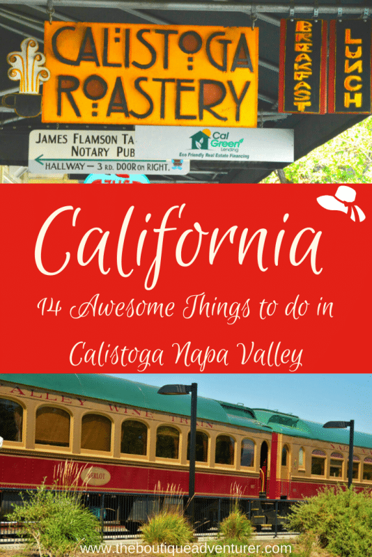 napa valley wine train and signage of calistoga california