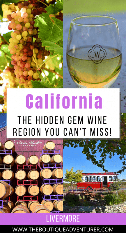 images of livermore california wine region - grapes, white wine in a glass, barrels and a tram