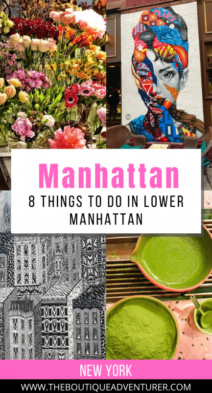 images of lower manhattan - audrey hepburn street art, flowers at chelsea market, matcha tea and powder, black and white sketch of manhattan buildings