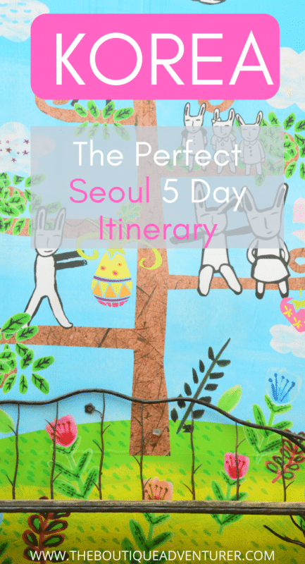 mural of bunny people in pastel colours from seoul korea
