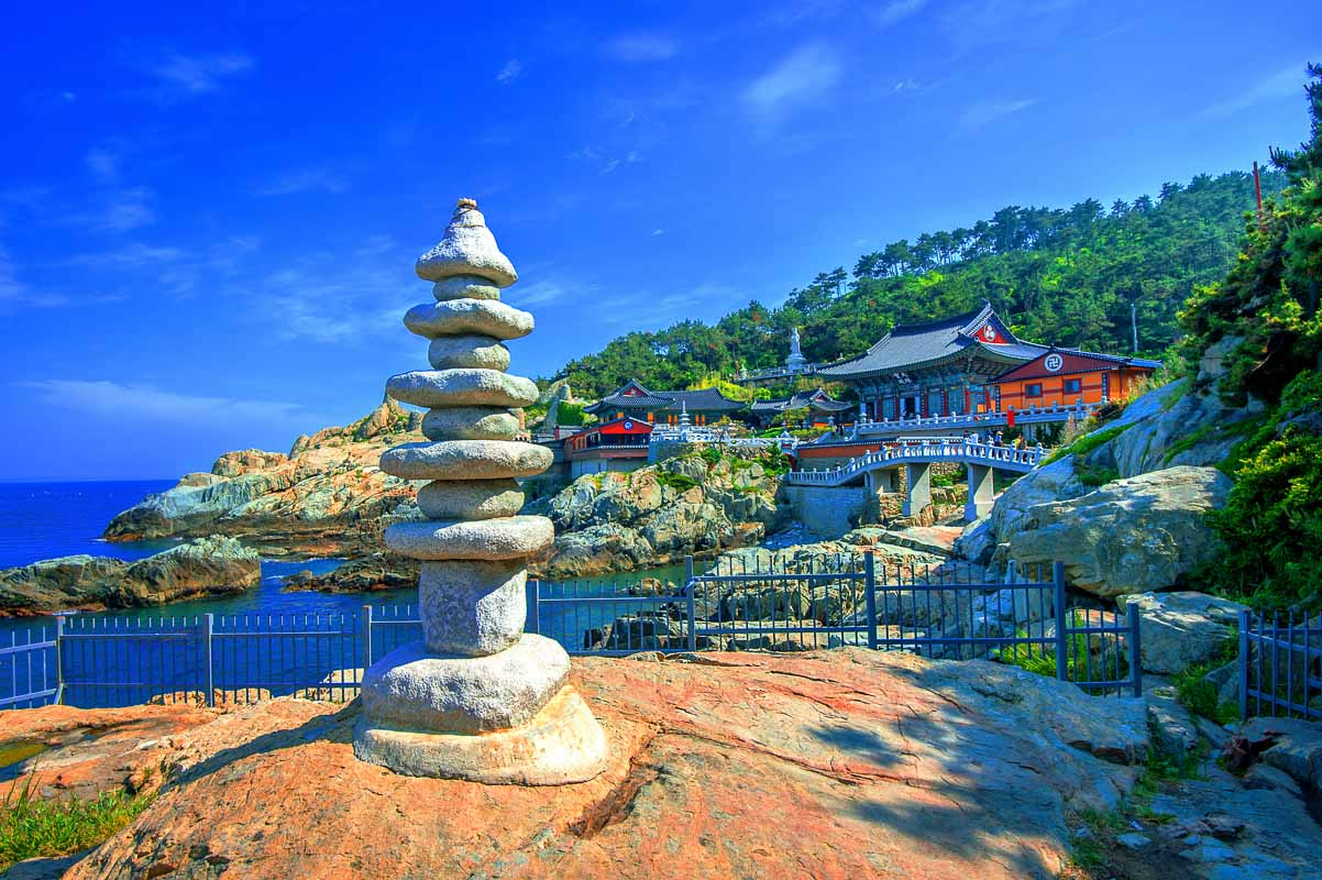 Haedong Yonggungsa Temple and Haeundae Sea in Busan, South Korea
