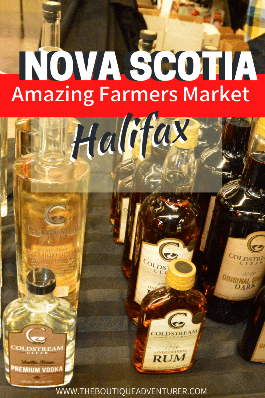 bottles from coldstream clear distillery at halifax farmers market