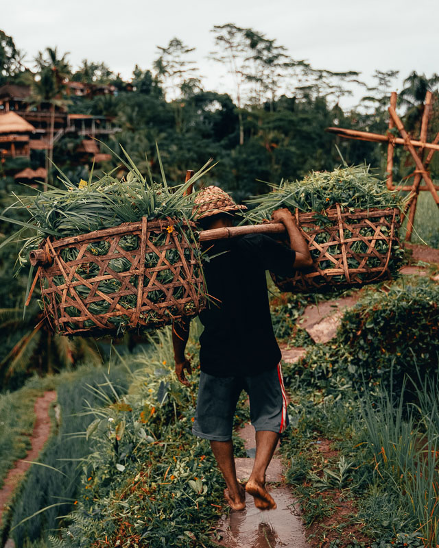 man with baskets in bali