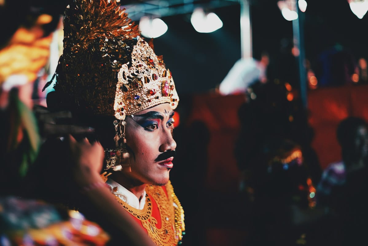 person dressed up for ceremony in bali