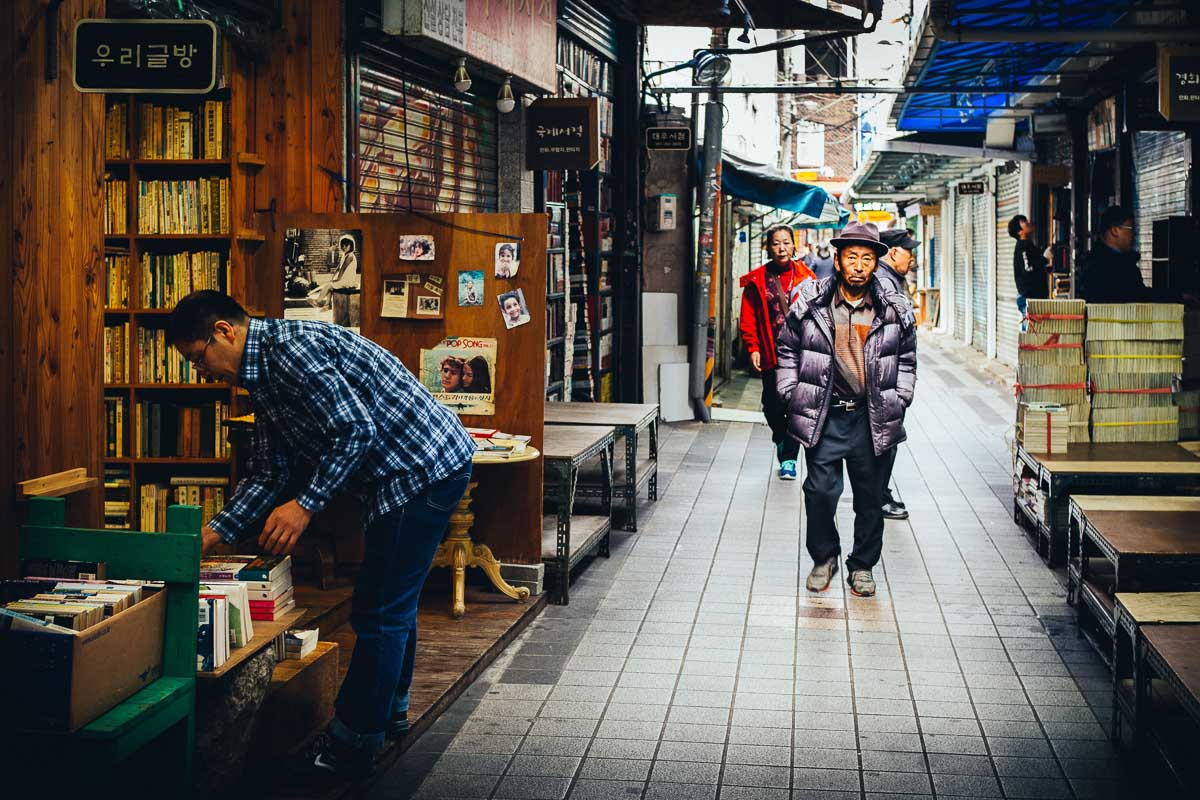 shopping street in busan south korea