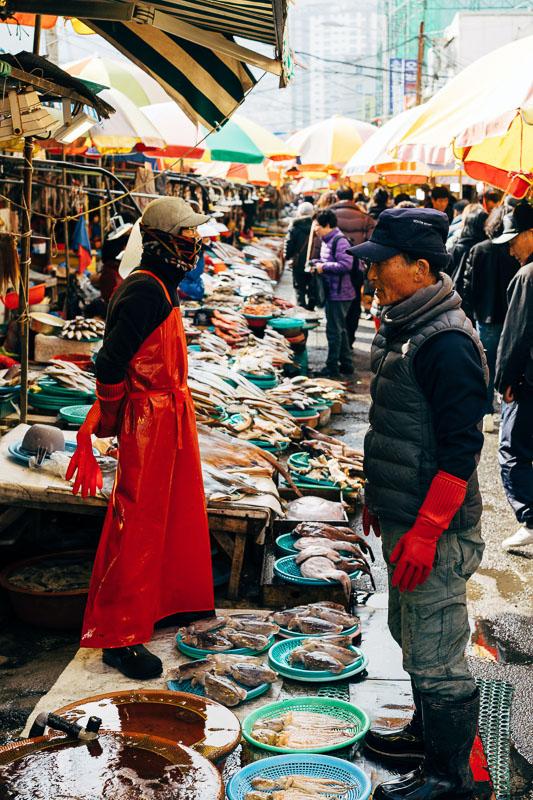street market in busan south korea