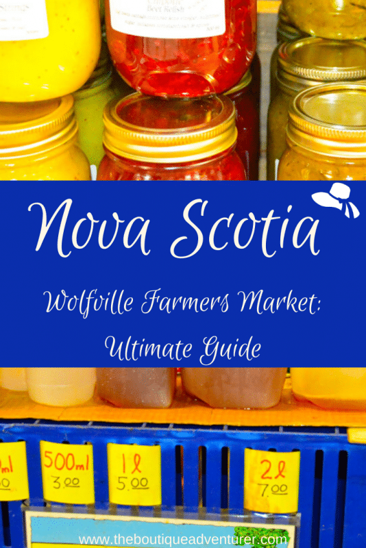 images of relishes and apple juice at wolfville farmers market nova scotia canada