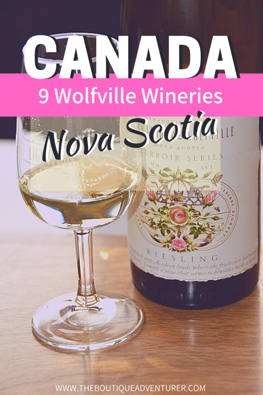 bottle of wine and wine glass from lightfoot and wolfville winery