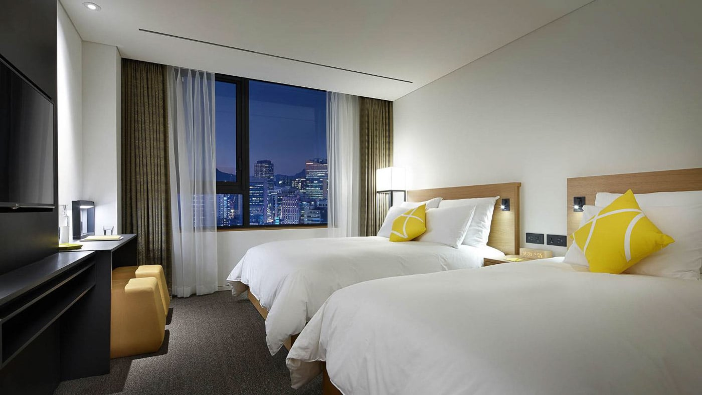 room at myeondong L7 seoul 2 double beds