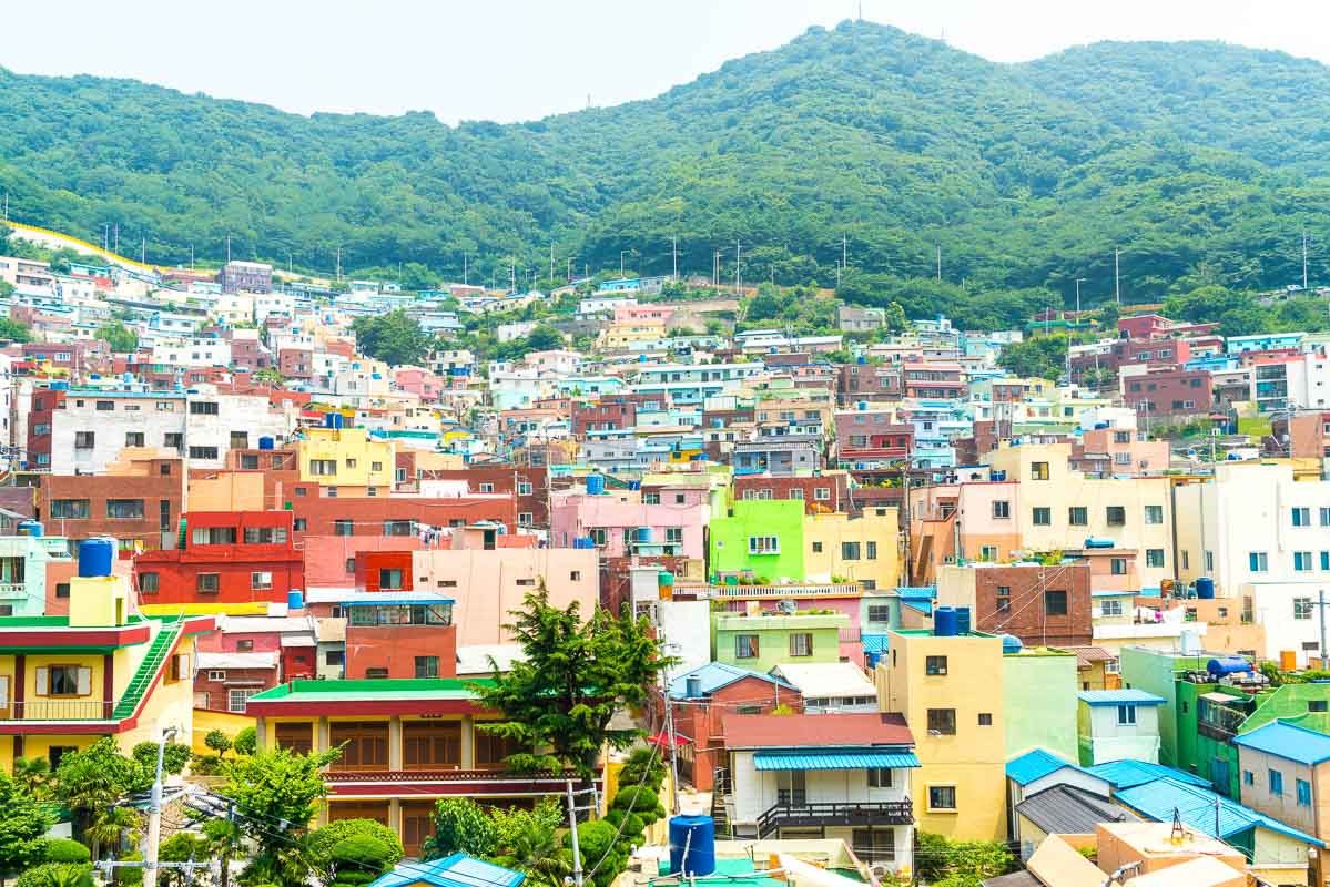 Beautiful Architecture at Gamcheon Culture Village in Busan, South Korea.