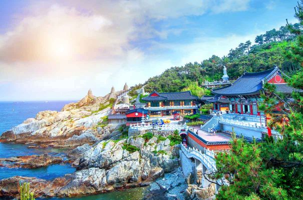 Haedong Yonggungsa Temple and Haeundae Sea in Busan, South Korea.