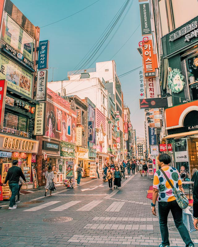 colourful streets of Myeongdong Seoul South Korea