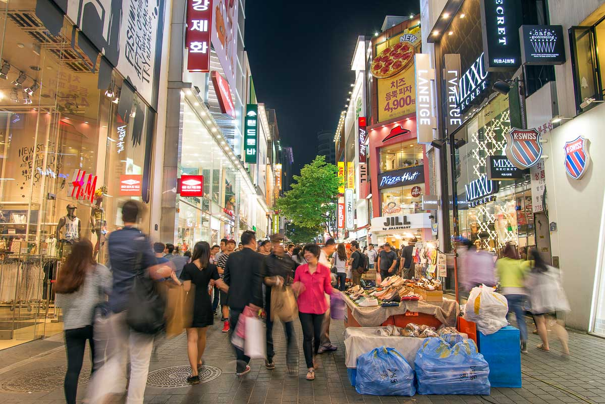 myeongdong shopping street in seoul south korea at night