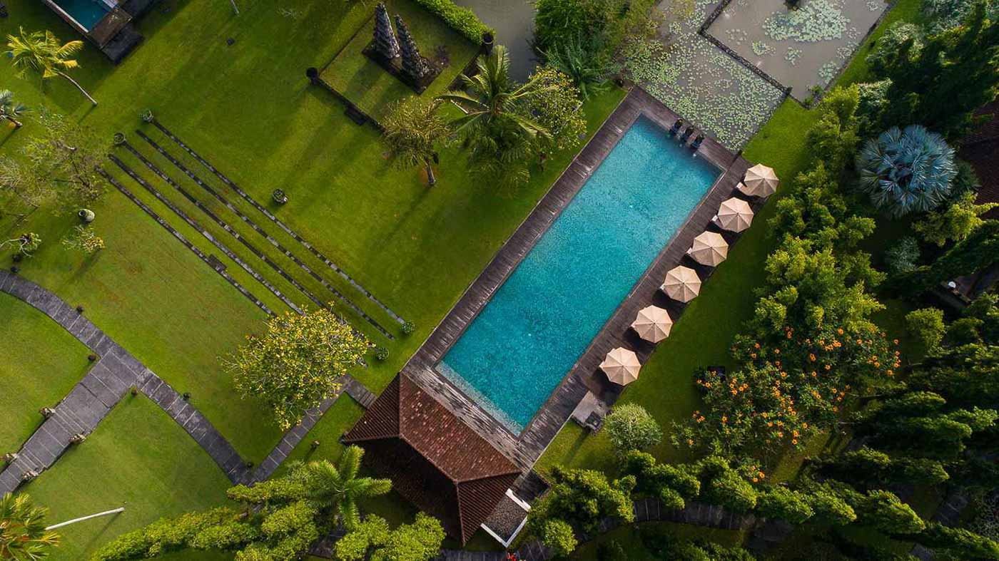 tanah resort aerial swimming pool ubud bali