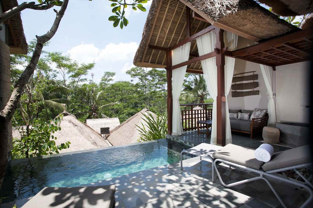 tejaprana pool and lounger ubud bali hote