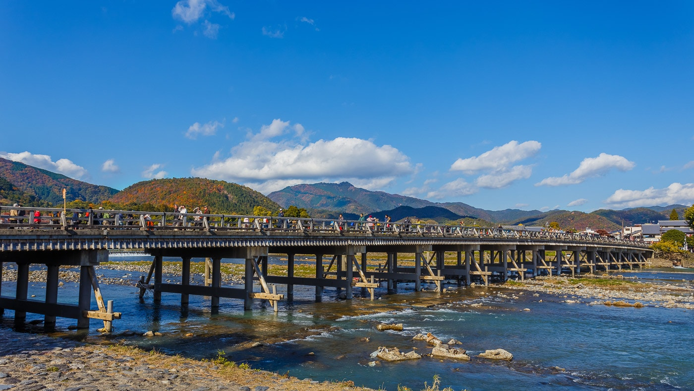 Kyoto, Japan - November 19 2013: Togetsu-kyo Bridge is a landmar