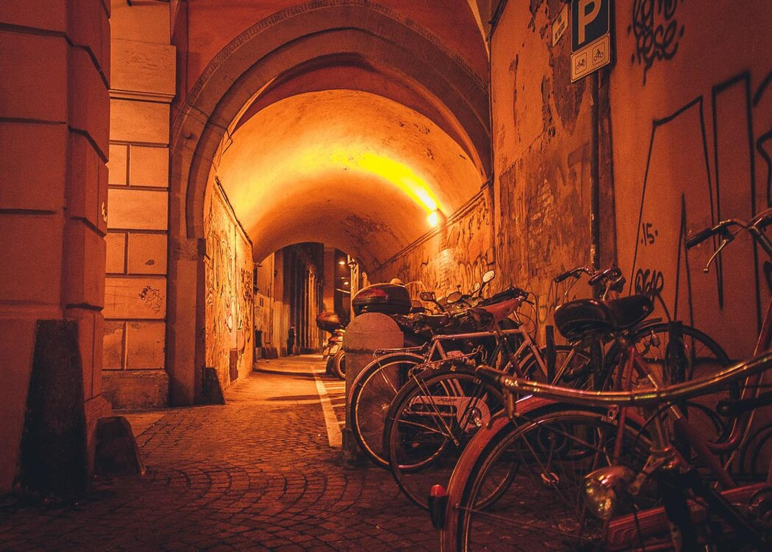 Bicycles-in-medieval-graffiti-arch