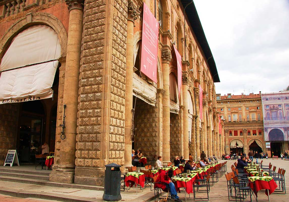 bologna square with tables