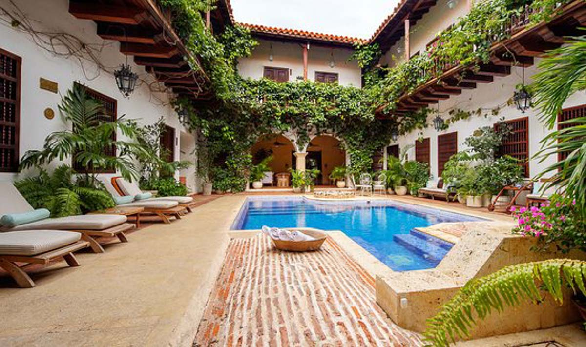hotel-casa-del-arzobispado pool - one of the cartagena boutique hotels