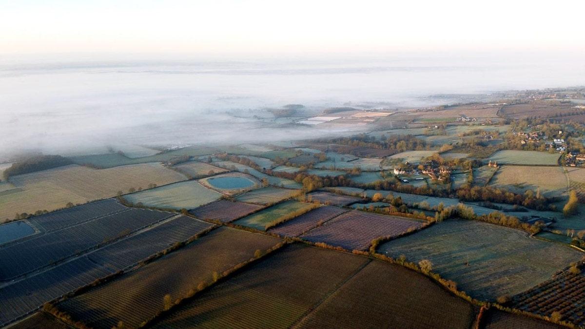 kent-farmlands aerial view