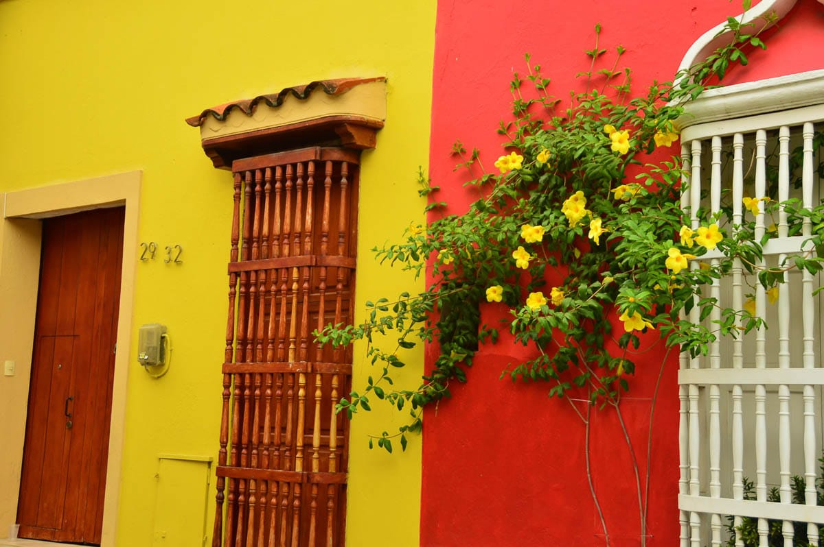 red and yellow buildings in cartagena colombia