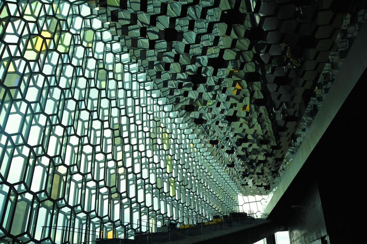 inside Reykjavik Harpa concert hall