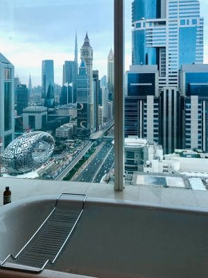 View from bathtub at Voco hotel dubai a perfect place to stay if you have one day in dubai
