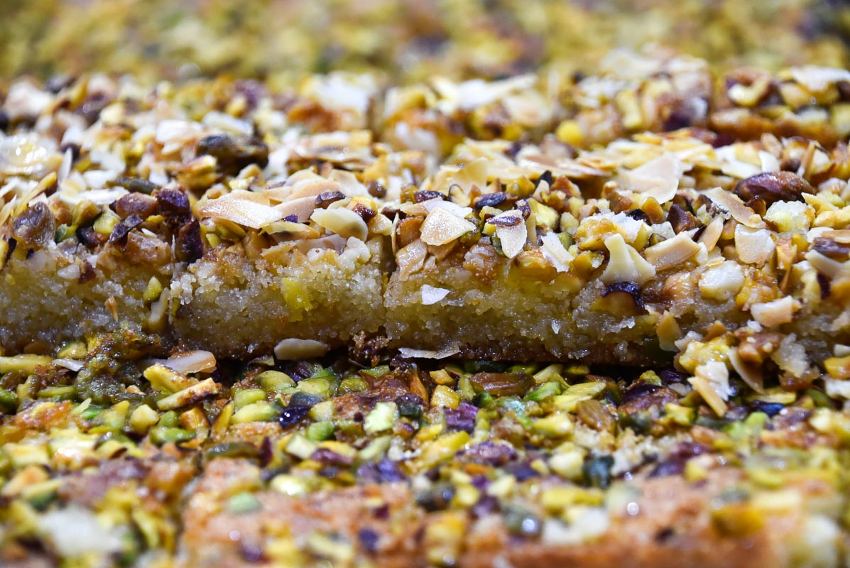 arabian sweets with nuts up close