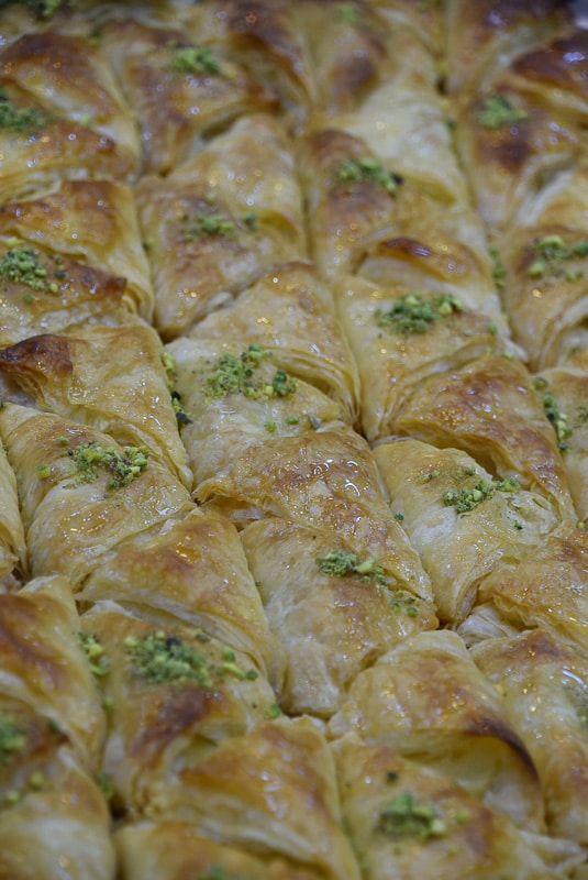 arabic sweet pastries up close