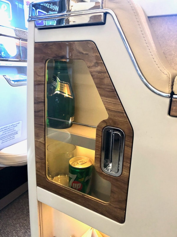 beverage area in seat emirates business class