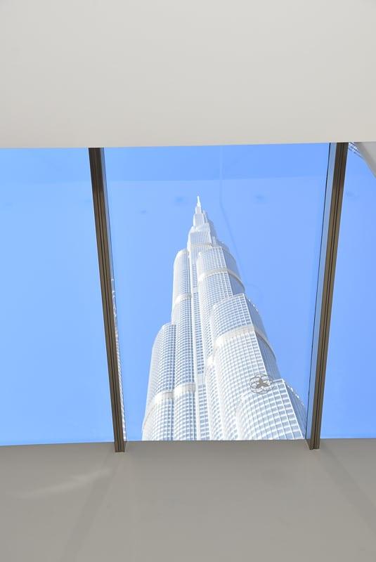Burj Khalifa seen through glass