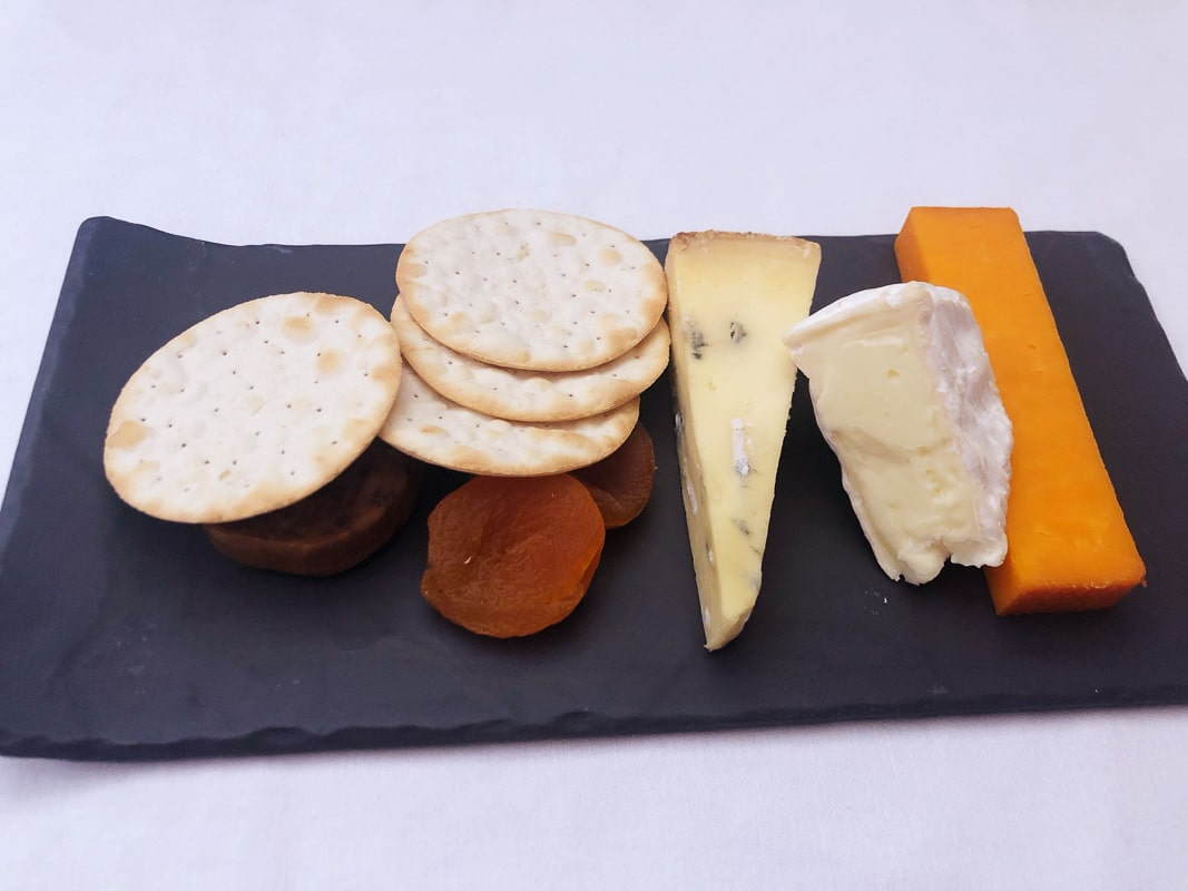 cheese plate served in emirates business class