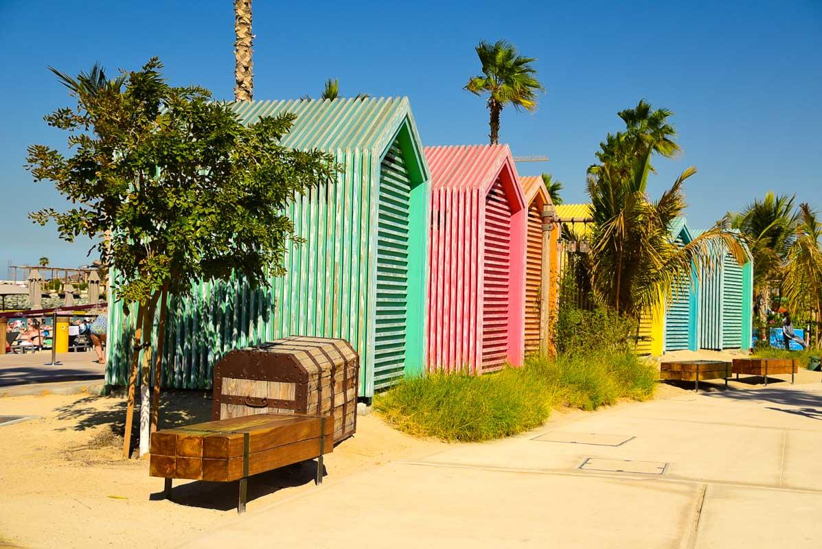 dubai la mer colourful beach huts