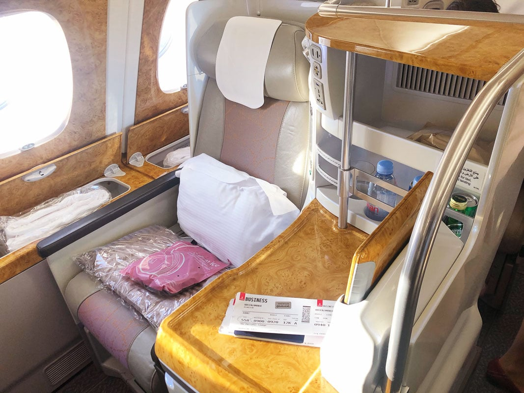 emirates business class seat front on