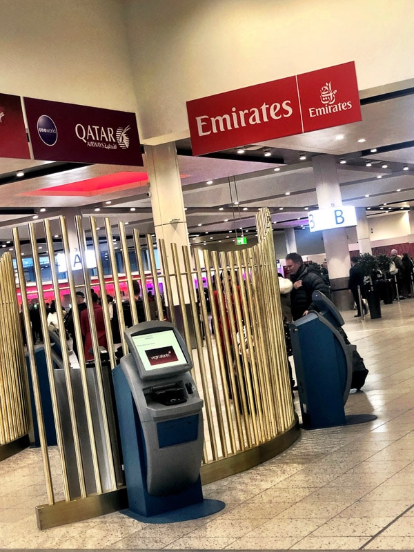 emirates check in area at gatwick airport
