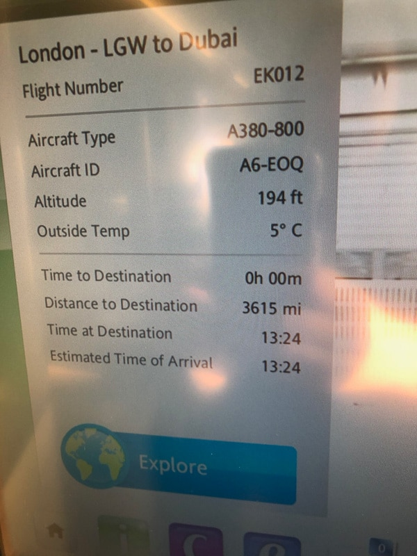 emirates flight details on screen