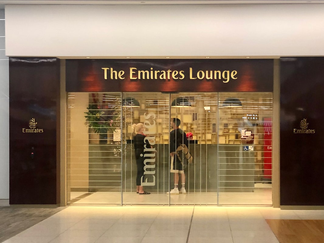 entrance to emirates lounge at perth airport