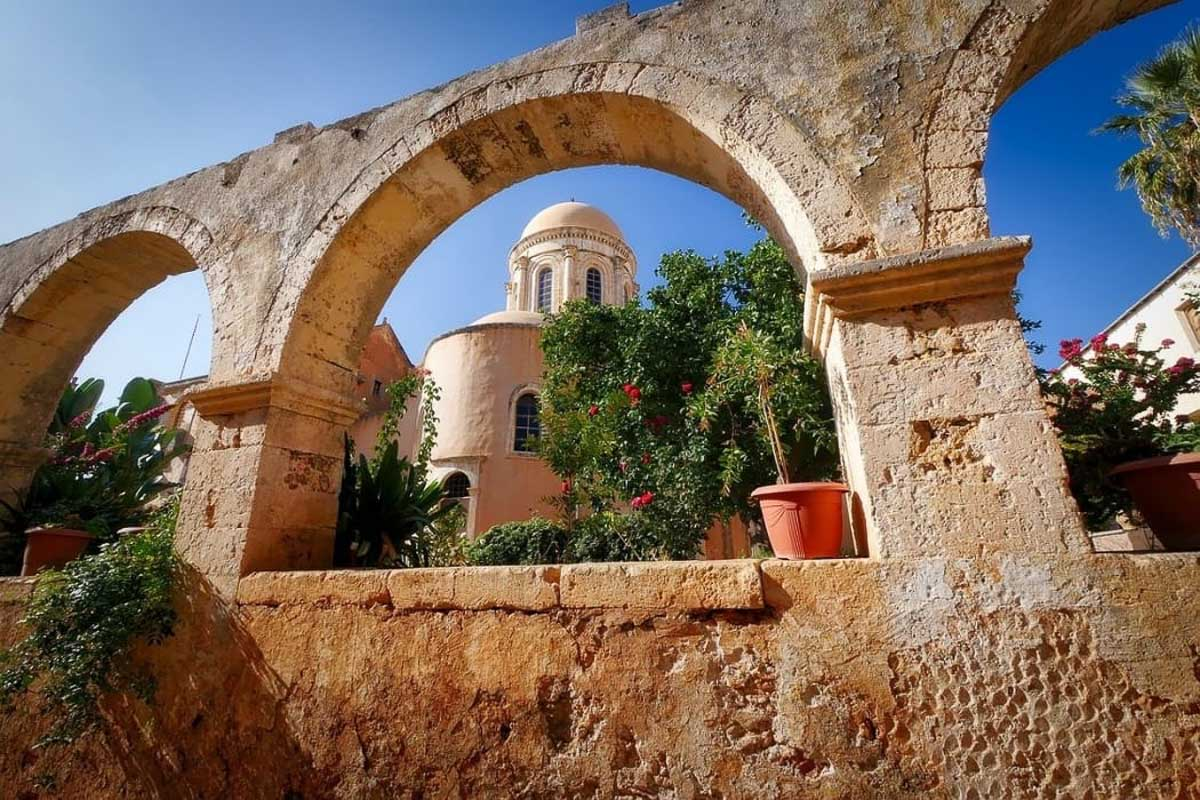 greek church seen through arches