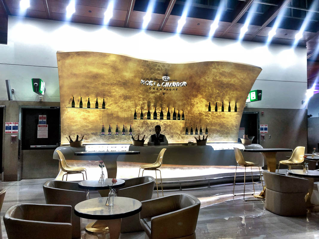 moet chandon bar at emirates business class lounge dubai airport
