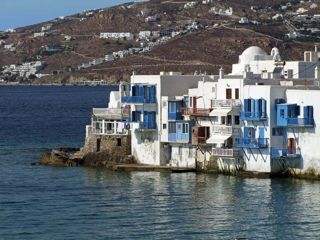mykonos houses on the water