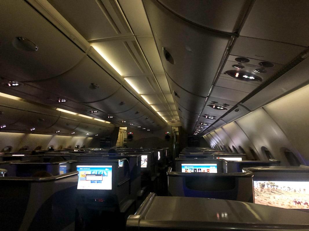 night inside emirates business class flight