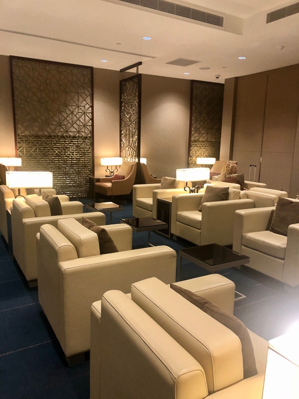seating in emirates lounge at perth airport
