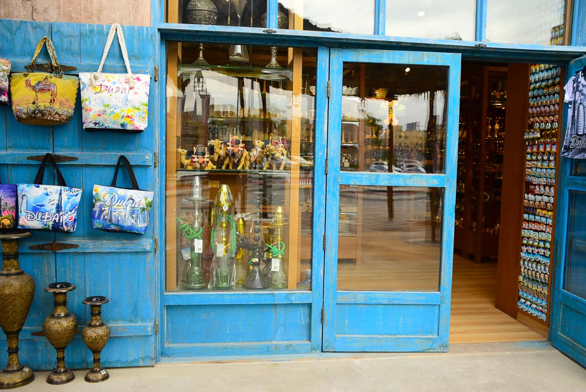 shop in dubai with blue wooden framing