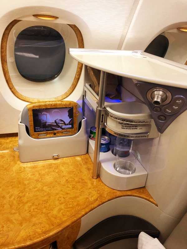 side rest of emirates business class seat
