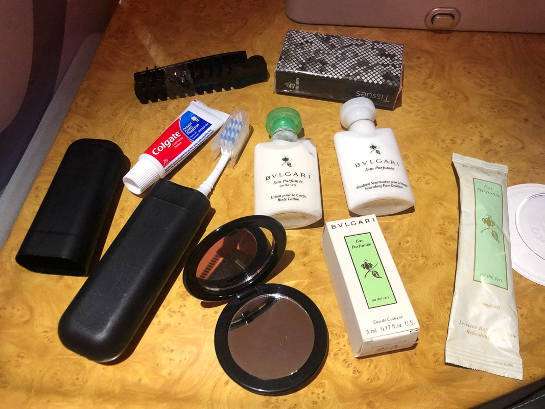 toiletries in emirates business class onboard kit
