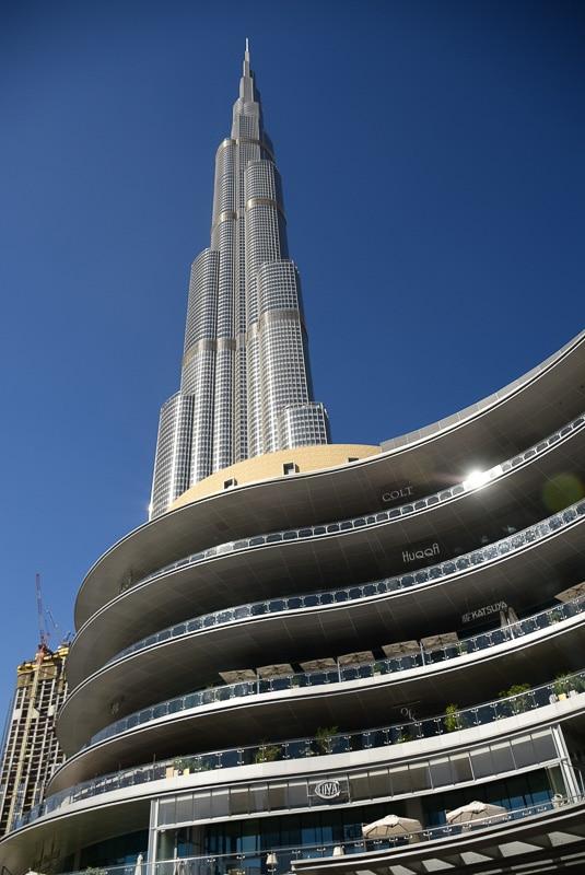 view of burj khalifa over mall of america dubai