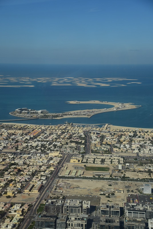 view of dubai harbour from top of burj khalifa