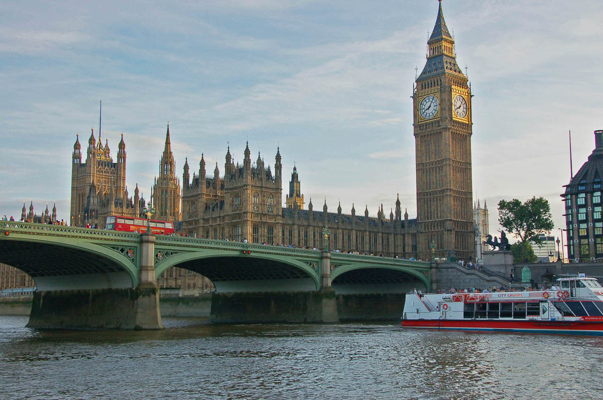 Big Ben and Westminster Palace as seen from the Thames