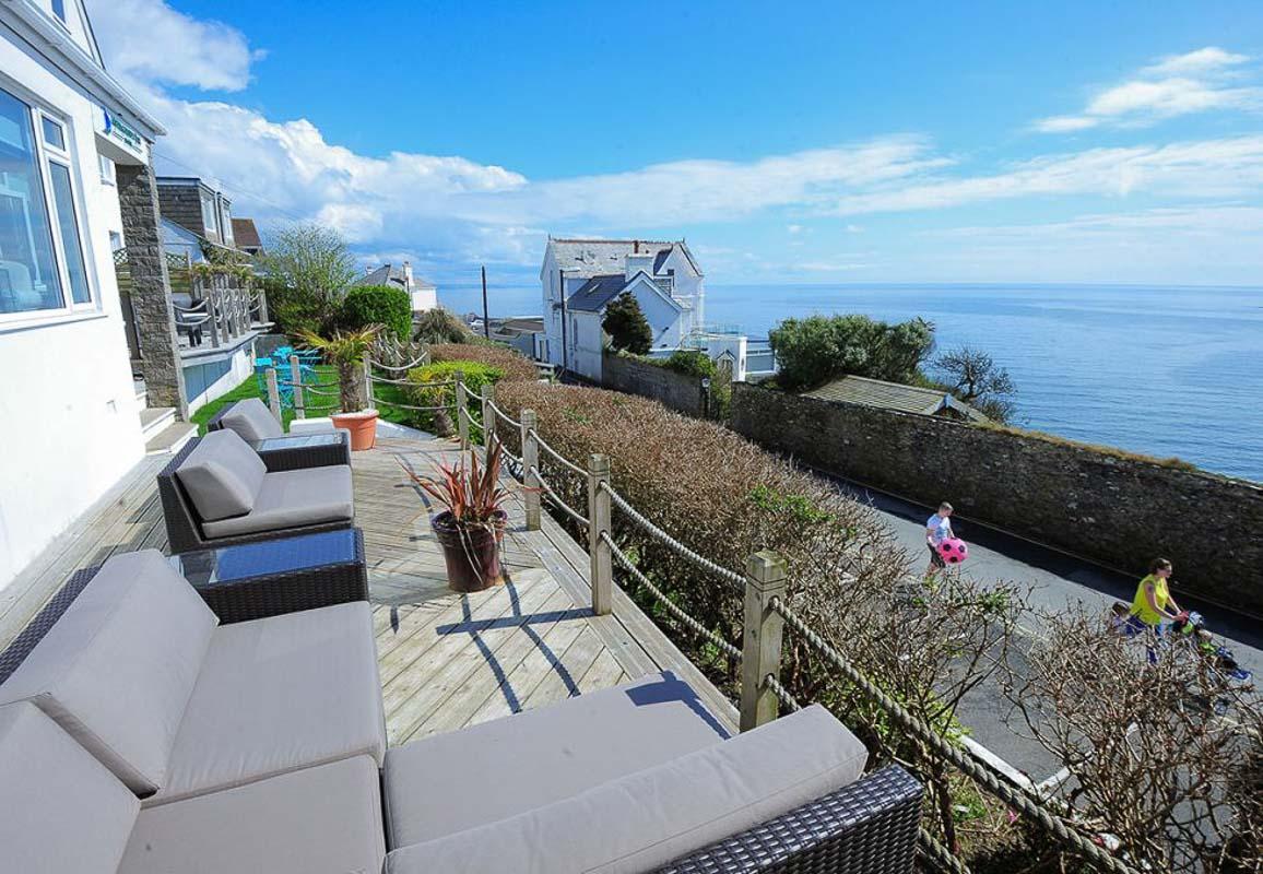 Mevagissey Bay Hotel deck Cornwall boutique hotel
