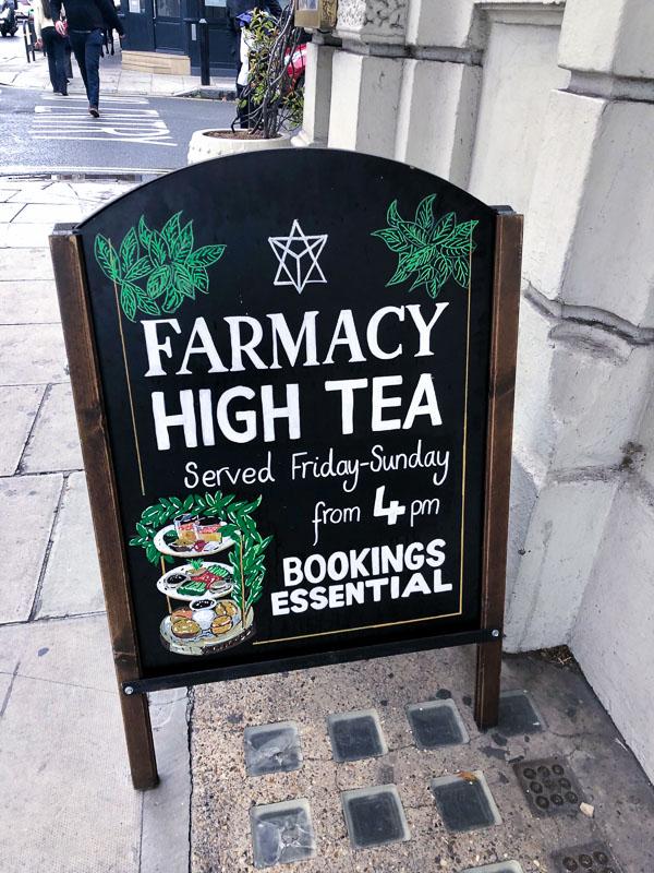 Notting Hill London Farmacy High Tea Sign